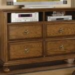 TV Console with Ring Handles in Mellow Oak Finish