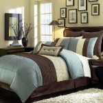 8 Pieces Blue Beige Brown Luxury Stripe Comforter (90″x92″) Bed-in-a-bag Set Queen Size Bedding