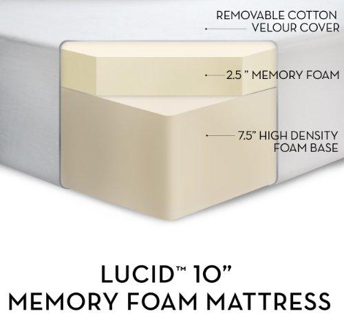 LUCID by LinenSpa 10″ Memory Foam Firm Viscoelastic Mattress 20-Year Warranty, King