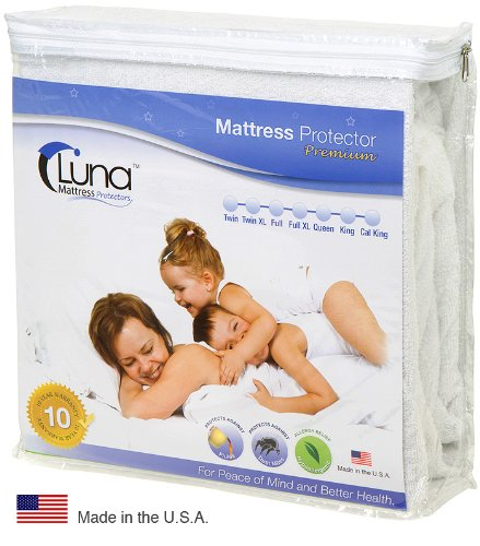 King Size Luna Premium Hypoallergenic 100% Waterproof Mattress Protector – 10 Year Warranty – Made In The USA
