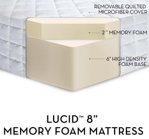 LUCID by LinenSpa 8″ Memory Foam Firm Viscoelastic Mattress 20-Year Warranty, King