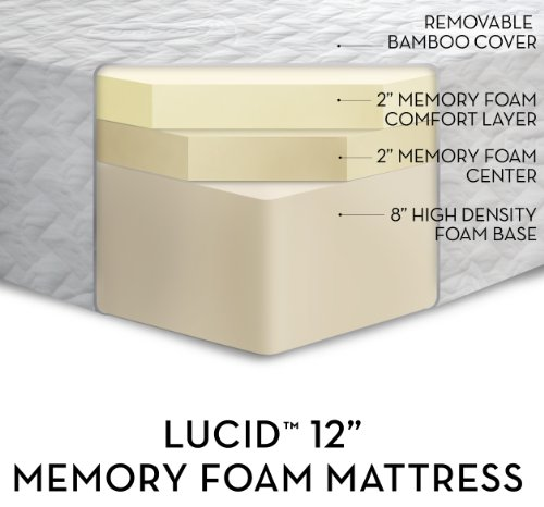 LUCID by LinenSpa 12″ Memory Foam Triple-Layer Plush Viscoelastic Mattress 20-Year Warranty – Bamboo Cover, King