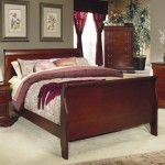 Queen Size Sleigh Bed Louis Philippe Style in Cherry Finish