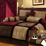 7 Pieces Brown, Burgundy, and Black Suede Patchwork Comforter Size 90″ X 92″ Bedding Set / Bed-in-a-bag Queen Machine Washable