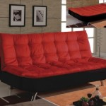 Red and Black Modern Tufted Futon Sofa Bed