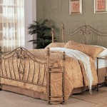 Queen Size Metal Bed Headboard and Footboard in Gold Finish