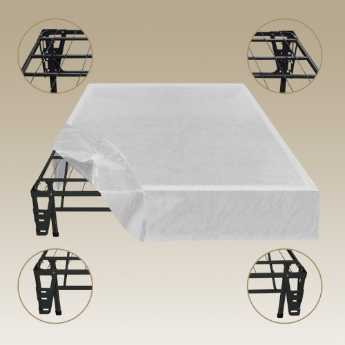 Sleep Master – Platform Metal Bed Frame/Foundation Set(SmartBase + Metal Brackets for Headboard & Footboard Attachment + Bed Skirt – QUEEN) – Perfect for Spring, Latex, and Memory Foam Mattresses