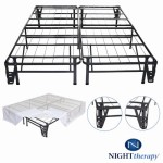 Platform Metal Bed Frame/Foundation Set(SmartBase + Metal Brackets for Headboard & Footboard + Bed Skirt – Queen) –