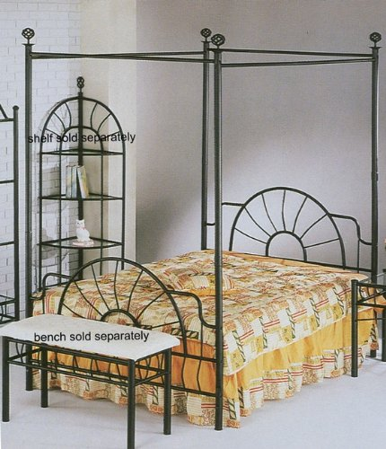 "Black ""sunburst"" Design Queen Size Canopy Bed Headboard Footboard Canopy"