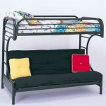 "Twin Full Size Futon Metal Bunk Bed with ""C"" Style in Black Finish"
