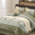 Chezmoi Collection 7-Piece Aqua Beige Sage Green Embroidered Floral Comforter 90-Inch by 92-Inch Bed in a bag Set, Queen Size Bedding
