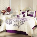 Chezmoi Collection 7-Piece Beige with Purple Flocking Blossom Floral Comforter 90-Inch by 92-Inch Bed in a bag Set, for Queen Size Bedding