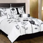 Chezmoi Collection 7-Piece White, Grey, and Black Lily with Leaf Applique Duvet Cover Set, Queen Size Bedding