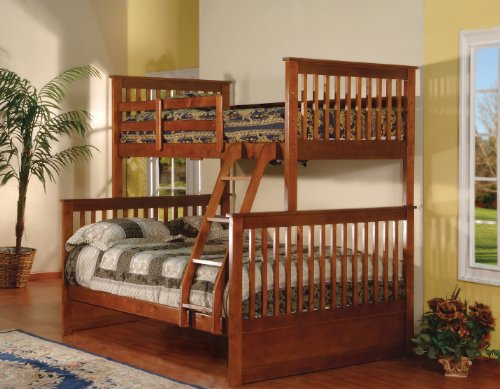 Walnut Finish Wood Twin Over Full Size Convertible Bunk
