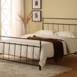 Black Metal Queen Size Bed Headboard Footboard Rails & Platform