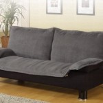 Futon Sofa Bed in Gray Microfiber