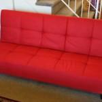 Red Microfiber With Adjustable Back Klik Klak Sofa Futon Bed Sleeper Convertible High Quality