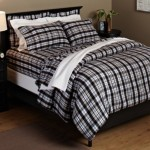 Pinzon 160-Gram Yarn Dyed Flannel Full/Queen Duvet Cover, Black/Khaki Plaid