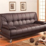 Futon Sofa Bed with Removable Arm Rests, Brown Vinyl Leather Finish Coaster 300148