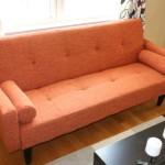 Rust Orange Convertible Sofa High Quailty High Density Futon Klik Klak Modern