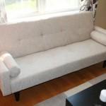 Beige Convertible Sofa High Quailty High Density Futon Klik Klak Modern