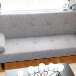Grey Speckle Convertible Sofa High Quailty High Density Futon Klik Klak Modern