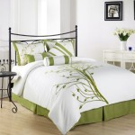 Chezmoi Collection 7 Pieces Green Tree on White Comforter Set Bed-in-a-bag for Queen Size Bedding