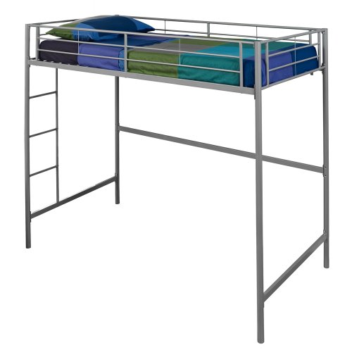 WE Furniture Metal Loft Bunk Bed, Twin, Silver