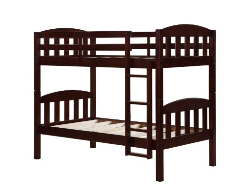 Dorel Asia Solid Wood Pine Bunk Bed, Espresso