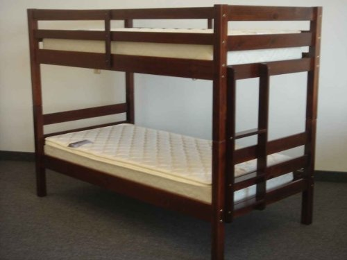 Bedz King Bunk Bed, Twin Over Twin Ranch Style, Cherry