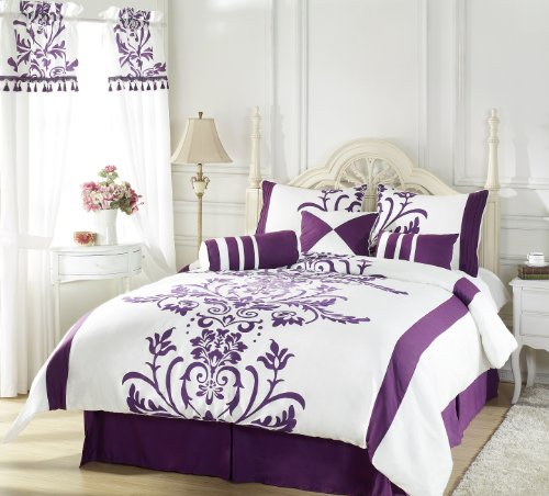 Chezmoi Collection 7-Piece White with Purple Floral Flocking Comforter 90-Inch by 92-Inch Set, Bed in a bag for Queen Size Bedding Machine Washable