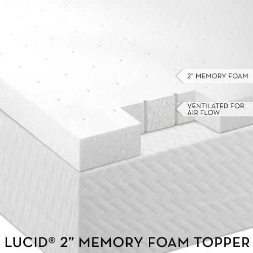 2″ Lucid by LinenSpa Ventilated Memory Foam Mattress Topper 3-Year Warranty(King size)