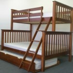 Bedz King Bunk Bed with Twin Trundle, Twin Over Full Mission Style, Espresso