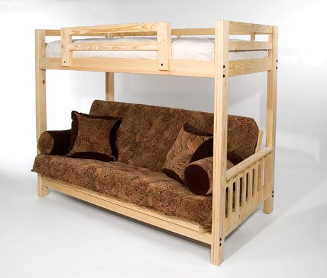 The Ultimate Space Saver Solid Wood American Made And Sleeps 3 Queen Futon Bunk Bed Frame