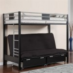 Twin Size Loft Bed with Futon in Silver Black Finish by Furniture of America