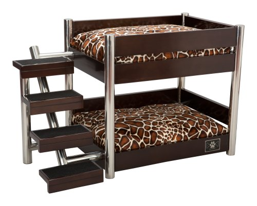 LazyBonezz Metropolitan 4-Step Pet Bunk Bed, Espresso
