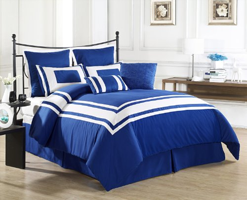 Cozy Beddings Lux Décor 8-Piece Comforter Set, Queen, Royal Blue with White Stripe