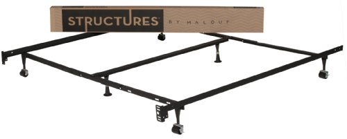 STRUCTURES by Malouf Heavy Duty 6-Leg LINENSPA Adjustable Metal Bed Frame with Double Center Support and Rug Rollers – UNIVE