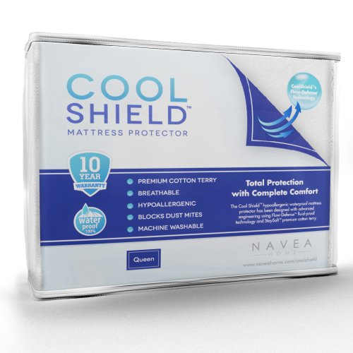 Cool Shield No Allergy Waterproof Mattress Protector – Breathable Terry Cover Protects Against Dust Mites, Allergens, Bacteria, Mold and Fluids – See Reviews – Machine Washable Mattress Protector – Best 10-yr Guarantee – Size: Queen