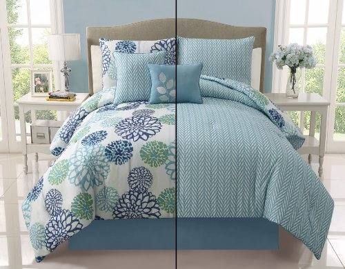 Victoria Classics Cameron 5-Piece Reversible Comforter Set, Full/Queen, Blue