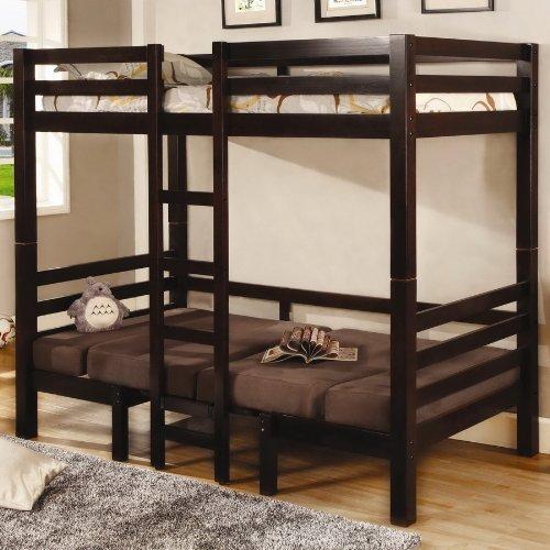 Twin Size Convertible Loft Bed in Dark Wood Finish