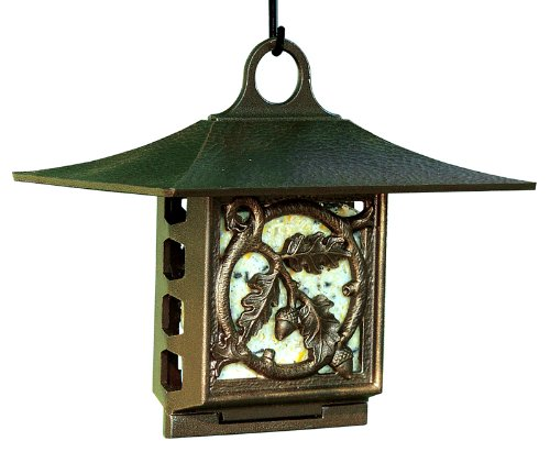 Whitehall Products, Oak Leaf Aluminum Suet Feeder 30054, 10 inches wide by 9 inches high, copper verdigris