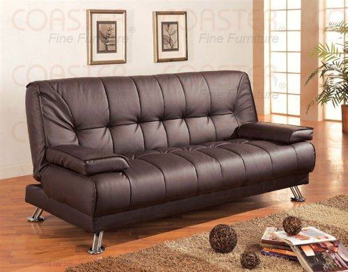 Futon Sofa Bed Brown Vinyl Cover Daybed Couch Bedroom