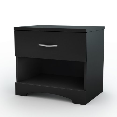 South Shore Furniture Step One Collection Night Stand, Pure Black