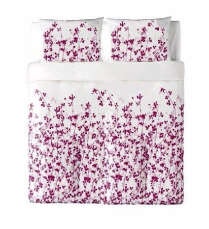 Ikea Ikea Ransby 3pc King Duvet-cover 100-percent Cotton White / Purple