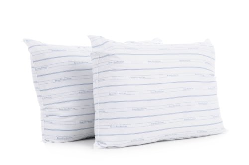 Beverly Hills Polo Club Twin Pack Classic Bed Pillows, Printed Stripe Blue Cover