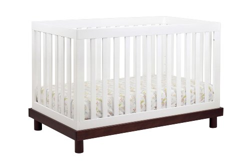 babyletto Madison 3-in-1 Convertible Crib with Toddler Rail, Espresso and White
