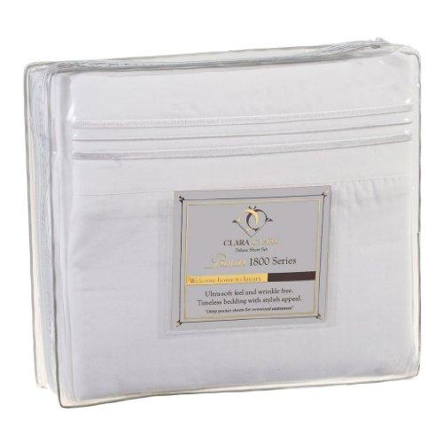 Clara Clark Premier 1800 Series 4pc Bed Sheet Set – Queen, White