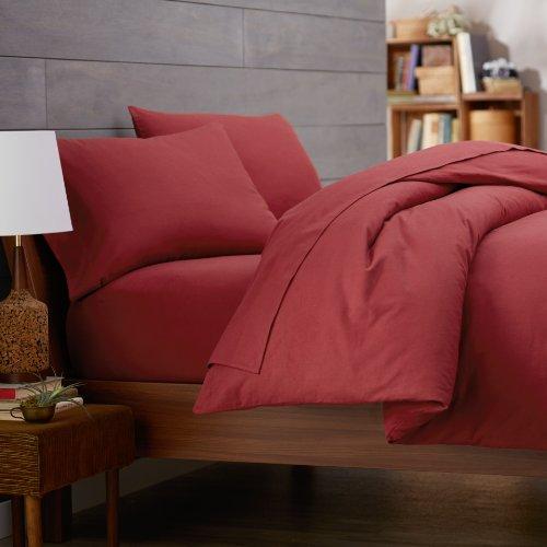 Pinzon 160-Gram Solid Flannel Duvet Cover, Full/Queen, Bordeaux