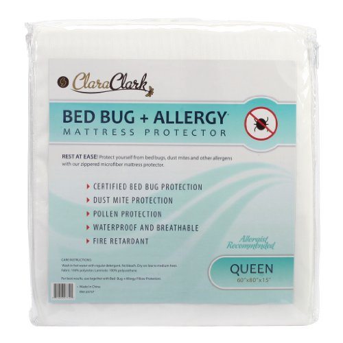 Queen Size Clara Clark Hypoallergenic 100% Waterproof Washable Fire Retardant Mattress Cover, Protects From Bed Bugs, Dust Mites, Pollen, Mold And Fungus, Great for Asthma, Eczema And Allergy Sufferers, Available In 5 Sizes, Fits Mattresses Up To 15″ Thick